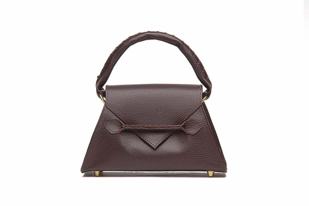 384f4b53c67f Ese Mini Flap Top Handle Bag in Brown Pebbled Calfskin Leather with Suede  Calfskin Leather Interior ...