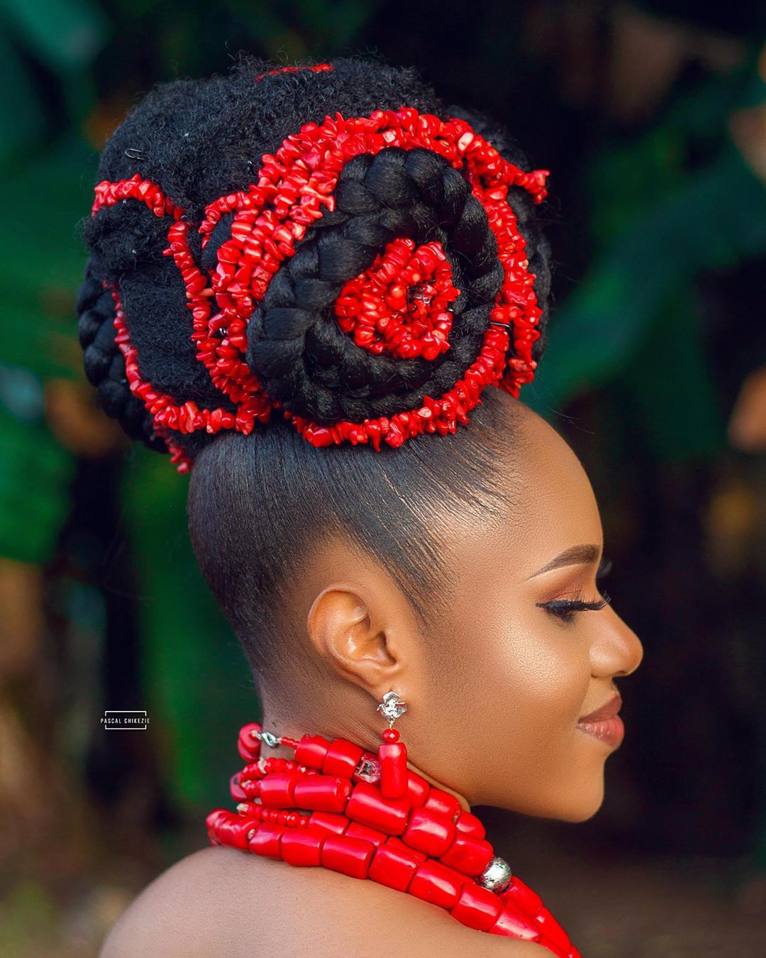 Coral Beads + a Big Bun Hairstyle is Today's Bridal Beauty Look