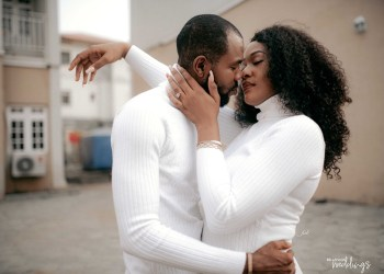 You'll Love to See Ehis & Chinonye's All-white Pre-wedding Shoot