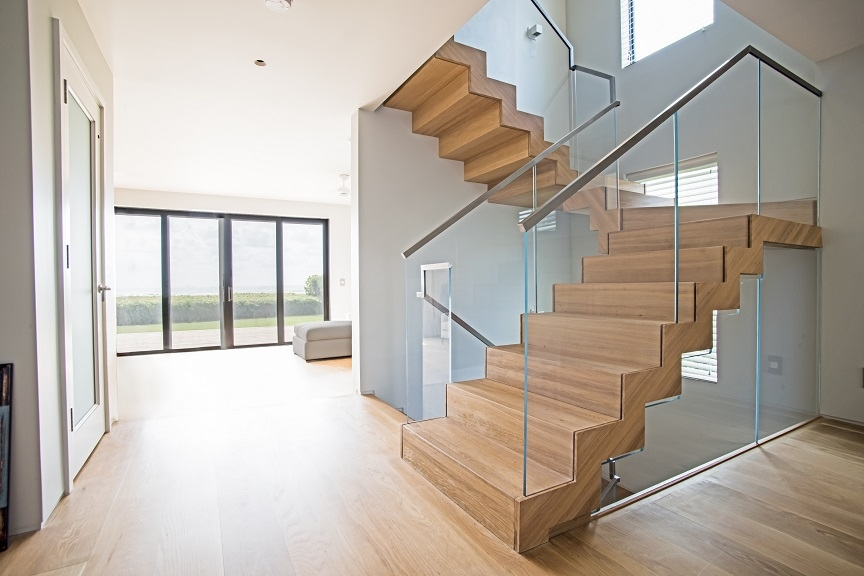 Floating Staircase Glass Railings In Juno Beach Bella Stairs | Floating Stairs With Glass Railing | Duplex Balcony | Combination Glass | Glass Balustrade | Crystal Handrail | Innovative Glass
