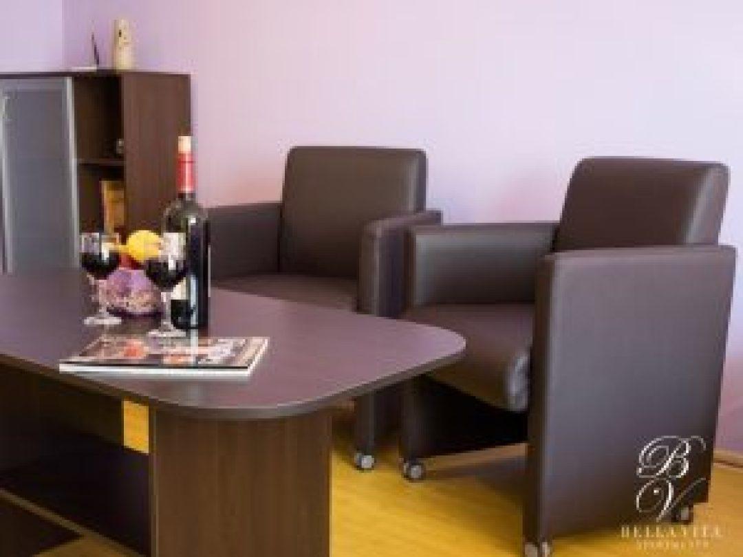 Трапезна маса и удобни фотьойли в апартамент под наем Благоевград