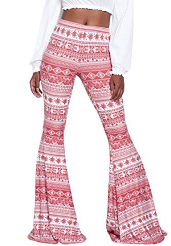 ee05f1c3c247 PinkWind Women Stretchy Soft Boho Print High Waist Flared Bells Floor-length  Pants