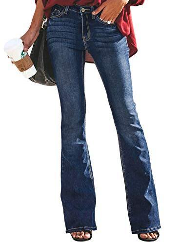 611f082e743 Aleumdr Women Denim Pants Ankle Length Wash Vintage Wide Leg Flare Jeans  Plus Size Tall (S-2XL)