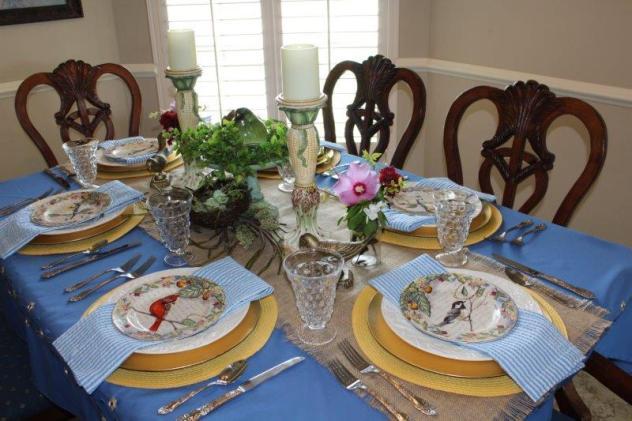 Belle Bleu Interiors Bird Tablescape 1