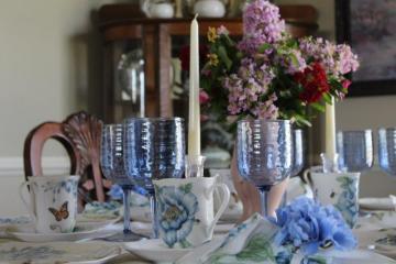 Belle Bleu Interiors Blue Butterfly Meadow Tablescape 2