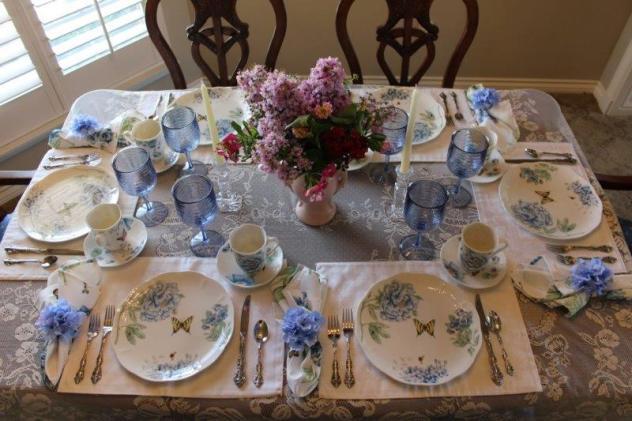 Belle Bleu Interiors Blue Butterfly Meadow Tablescape 8
