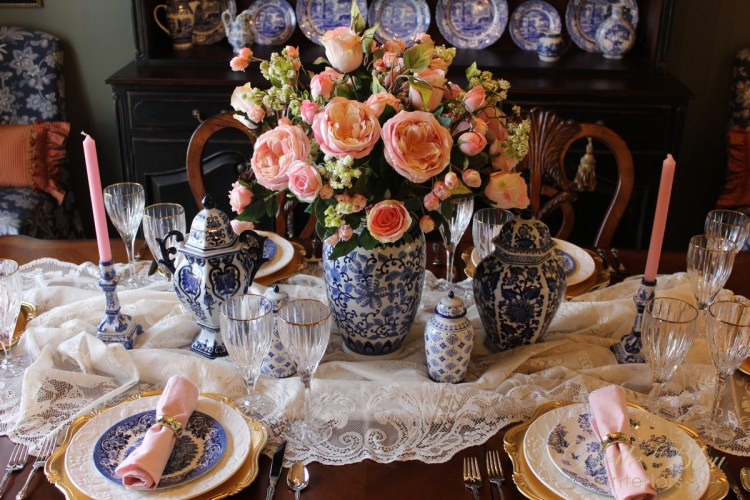 A Pink and Blue Tablescape to Welcome Spring