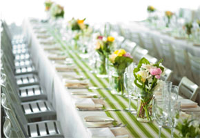 Green Stripes At A Wedding