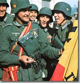 Fotografía propagandística de la División Española de Voluntarios