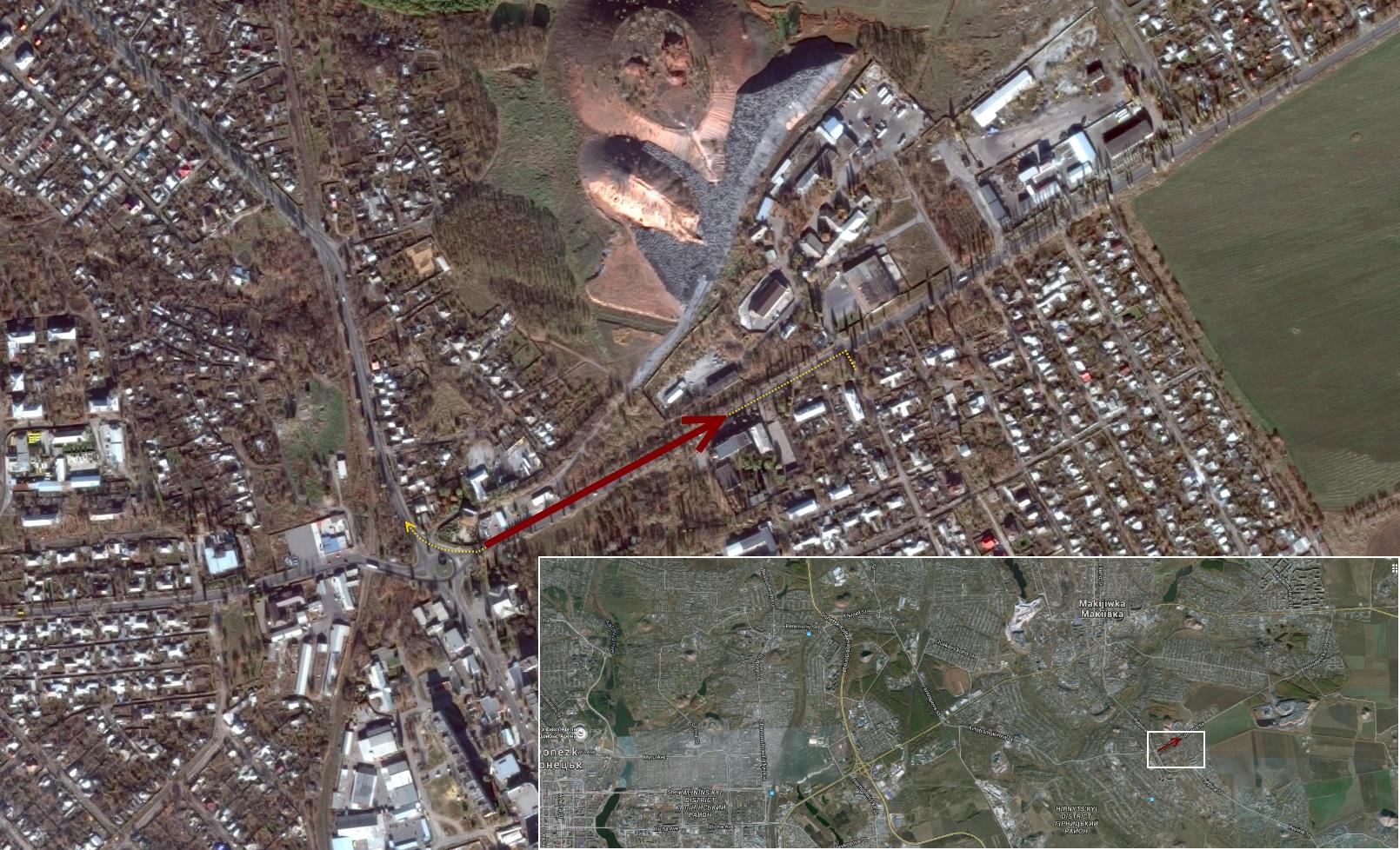 Локальная карта расположения конвоя и направлении на восток, и больше маршрутов в восточной части Украины (внизу)