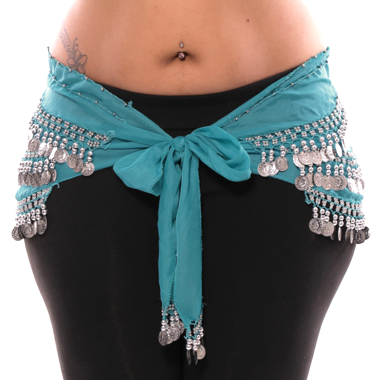 Plus Size 1X - 4X Chiffon Belly Dance Hip Scarf with Coins ...