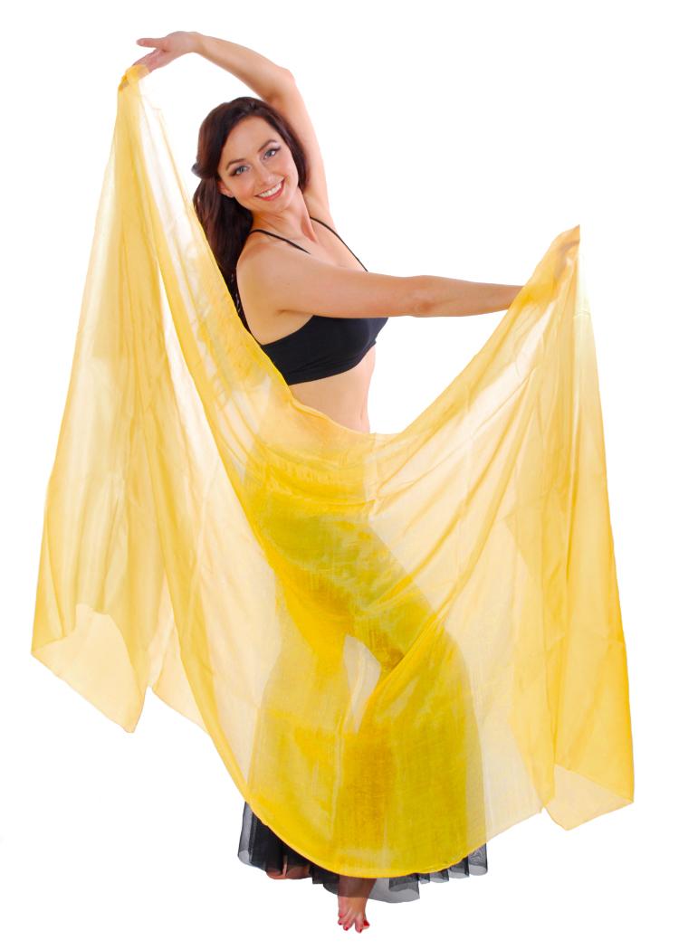 Silk Belly Dance Veil - YELLOW GOLD