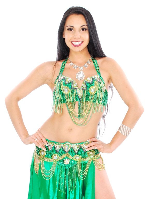 6270-Classic Beaded Cabaret Belly Dance Costume with Fringe