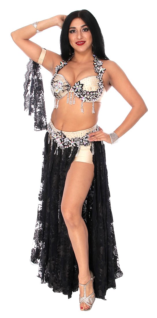 Professional Belly Dance Costume in Black Lace and Silver ...