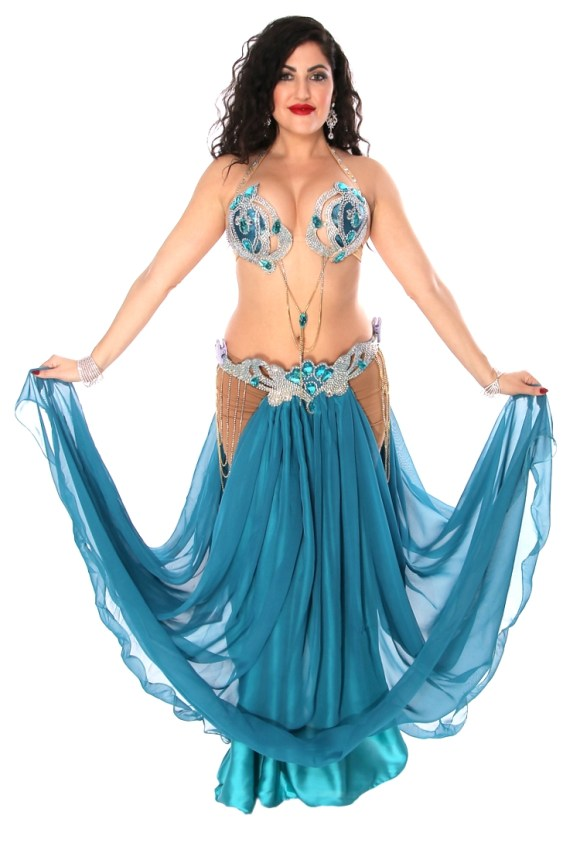Professional Belly Dance Costume from Egypt in Deep Teal Blue ...