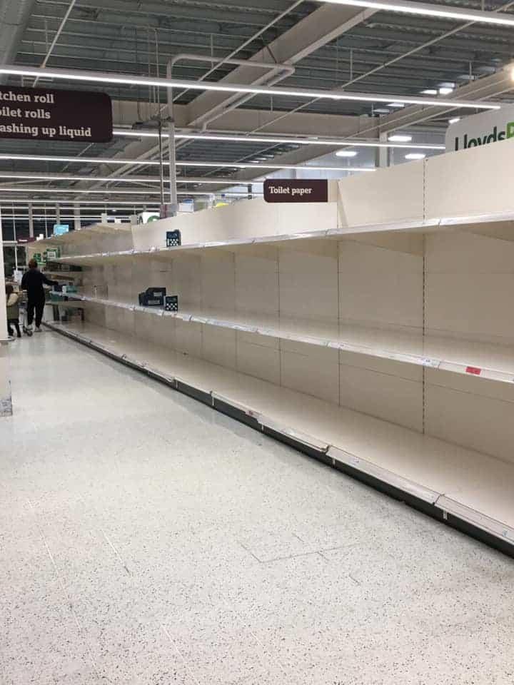 Sainsbury's Empty Toilet Roll Shelves