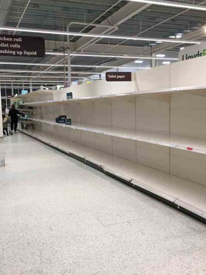 Sainsbury's Empty Toilet Roll Shelves