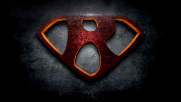 "The letter R in the style of ""Man of Steel"""