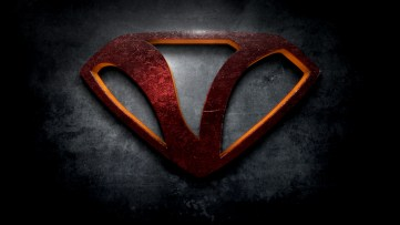 "The letter V in the style of ""Man of Steel"""