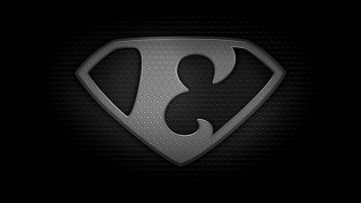 "The letter E in the style of ""Man of Steel"" - black and white texture version"