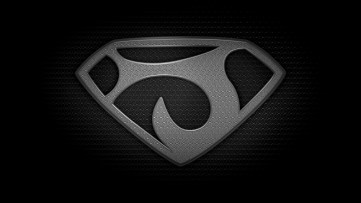 """The letter J in the style of """"Man of Steel"""" - black and white texture version"""