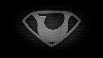 """The letter U in the style of """"Man of Steel"""" - black and white texture version"""