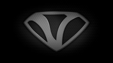 """The letter V in the style of """"Man of Steel"""" - black and white texture version"""