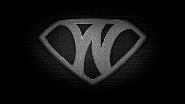 "The letter W in the style of ""Man of Steel"" - black and white texture version"