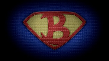 """The letter B in the style of """"Man of Steel"""" - color texture version"""