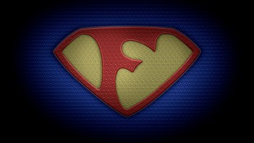 """The letter F in the style of """"Man of Steel"""" - color texture version"""
