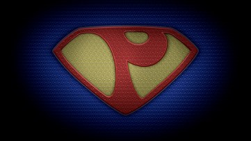 "The letter P in the style of ""Man of Steel"" - color texture version"