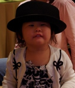 After donning her Christmas outfit I gave my hat to Penelope.