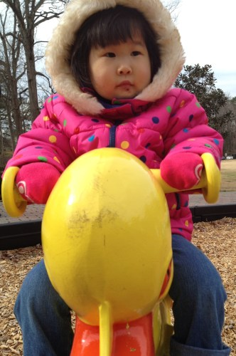 "We arrived at the park in East Point. Slides, swings, and ducks. As Steve said ""the duck always wins"". Penelope spent most of our time at the park on this duck."