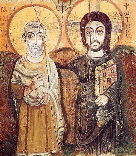 icon of Jesus & St Menas