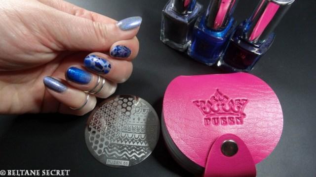 A England Nail Art Bleu-5