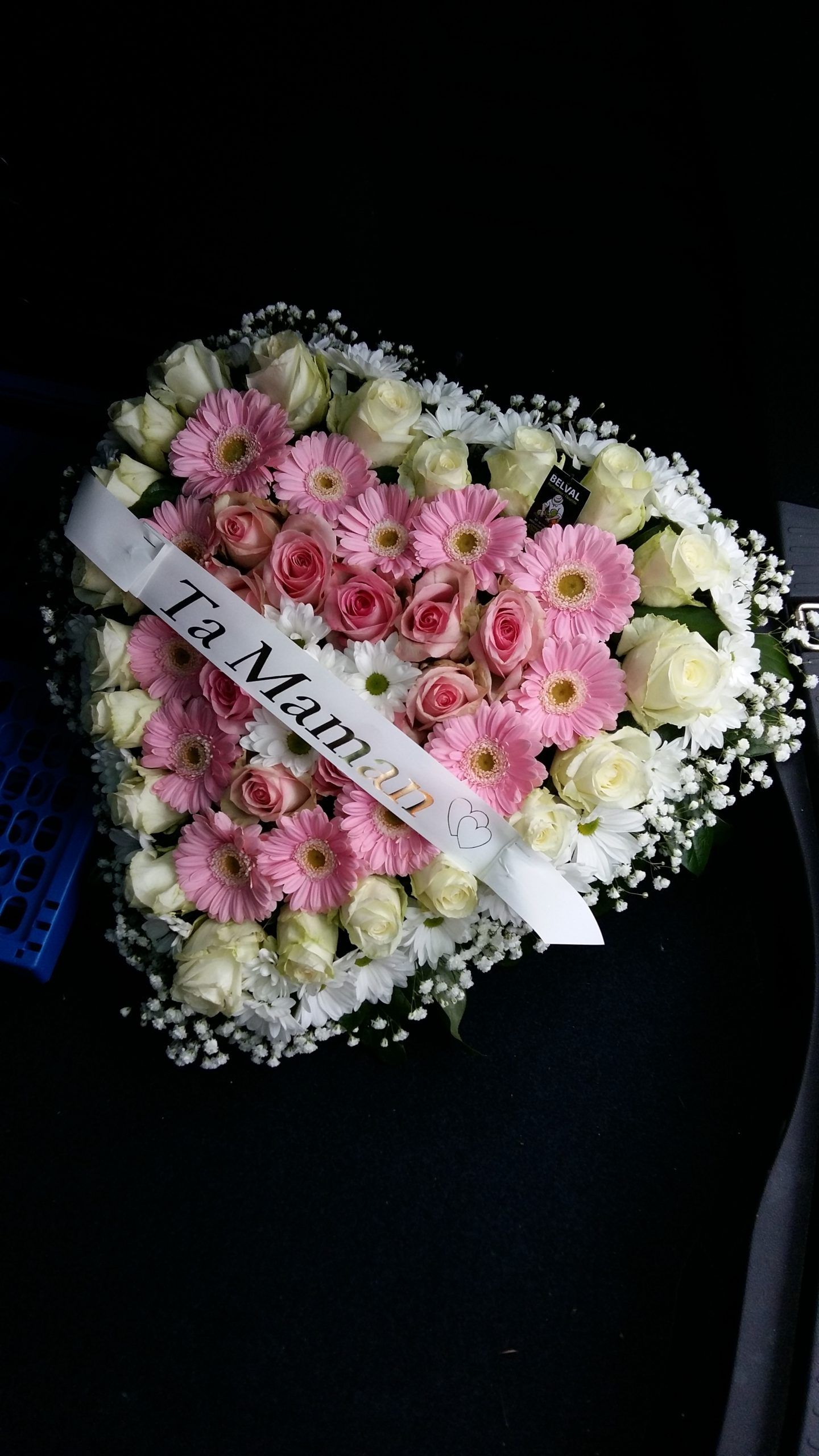 Coeur de fleurs Rose et Blanc ALYA