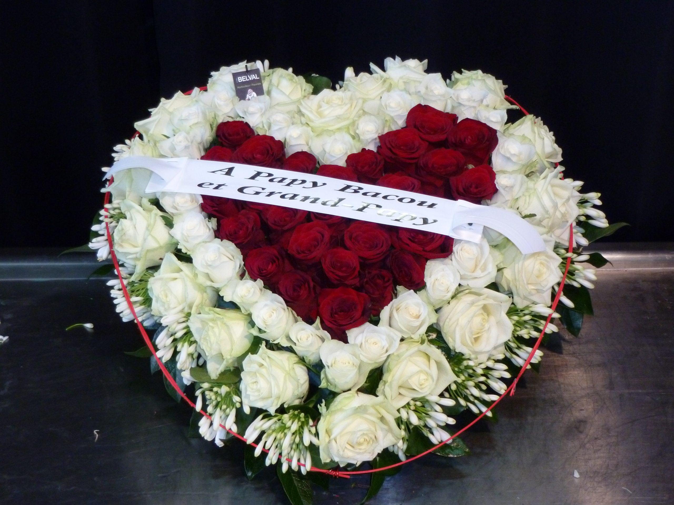 Coeur de fleurs Blanc et Rouge CÉLIA