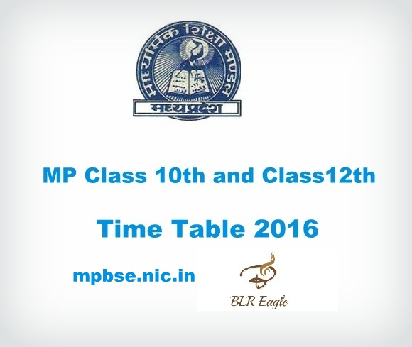 MP Class 10th and Class 12th Time Table