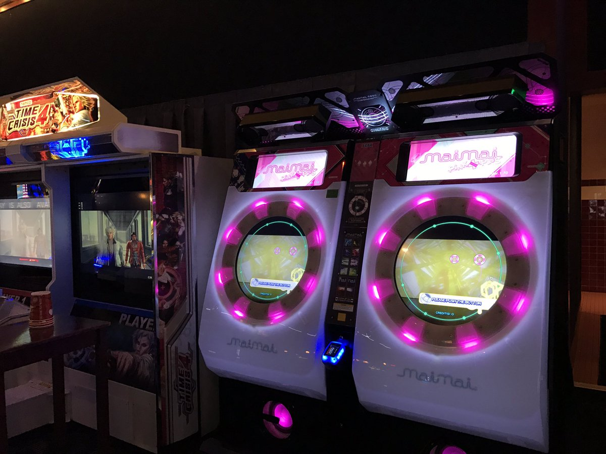 Maimai Pink Plus Localized Cabinets Spotted At Dave U0026 Busteru0027s Irvine!