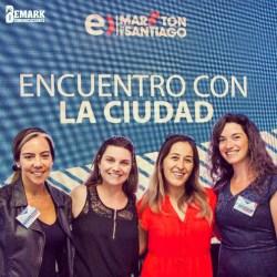 Francisca Aguirre y Carolina Carrillo de Maratón de Santiago, junto a Marcia y Kathya de Bemark Comunicaciones