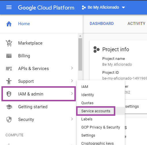 Access Service Account Link in Google Cloud Platform