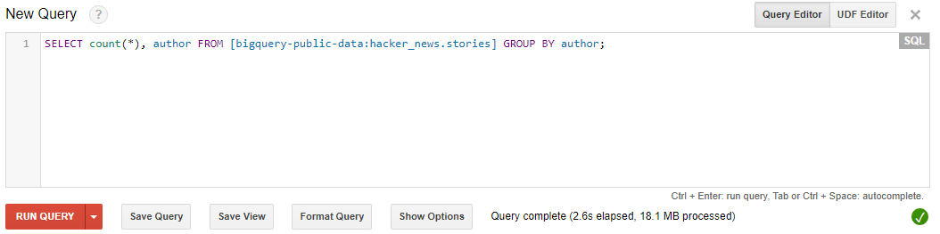 Simple query to fetch the count of stories grouped by author