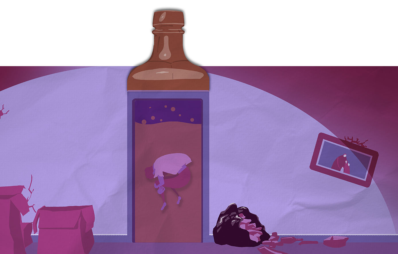 Illustration for 'Children of Alcoholism' - article in The Psychologist. Art Director: Mike Thompson.