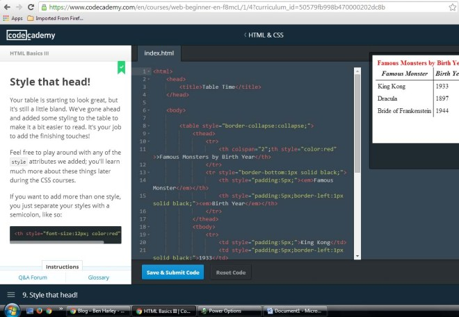 Codecademy - see your code's effect as you type it!