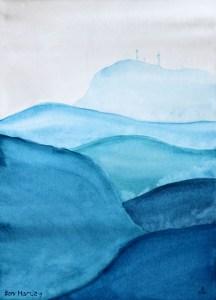 Planted Flags: watercolour landscape painting.