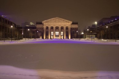Brigham hospital in the snow