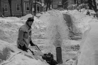 Snow blower on Mission Hill