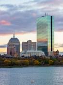John Hancock tower in Boston at sunset