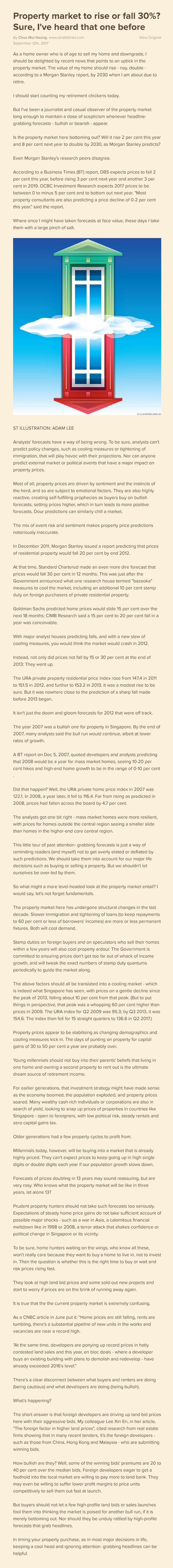 Property market to rise or fall 30%?