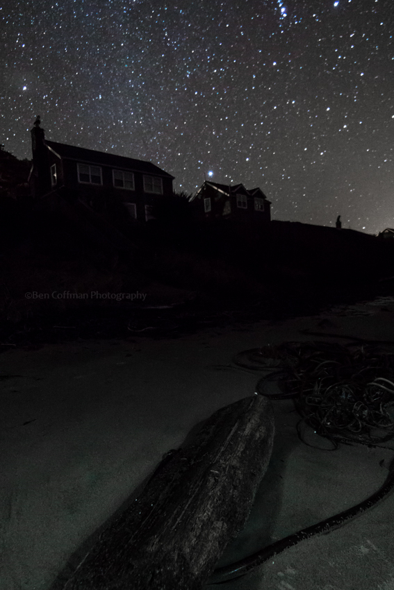 cannon beach, oregon, houses, stars, night photography